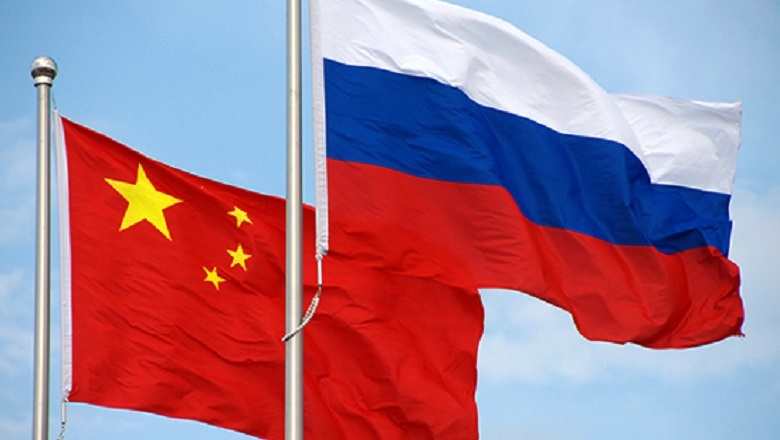 The flags of russia and china